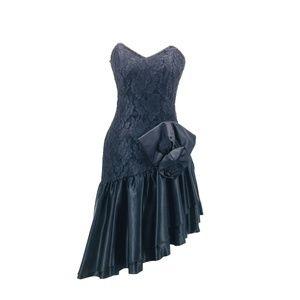 Vintage 80s Roberta Prom Strapless Lace Dress Sz 4